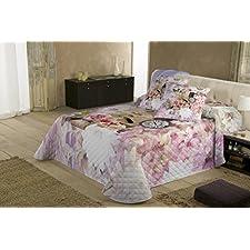 COTTON ART. Colcha Bouti Modelo BOUQUET para cama de 135 ( 240 x 260 cm). Algodón 100%. Diponible para cama de 90,105,135,150 y 180.