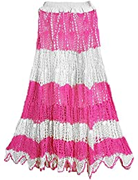 DollsofIndia White With Pink Crocheted Long Skirt - Length - 41 Inches - Elastic Waist - 24 To 36 Inches - White...
