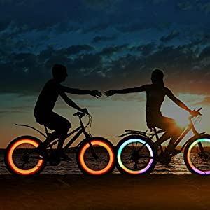 Oumers 4pcs Bike Spoke Light, Spokelit Bicycle Lights, Bicycle Accessories, Bike Flash Lamp Bulb Cycling MTB Wheel Tire Valve Spoke Light, Used for Sa
