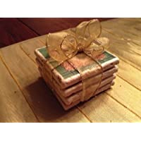 Rustic Christmas Tile Coasters - Set of Four