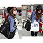 Black,army Green Korean Women Big Size Canvas Purse Handbag Messenger Satchel Casual Shoulder Bag (Black)