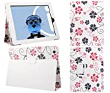 ITALKonline PADWEAR WHITE PINK FLOWERS Multi Function Multi Angle Luxury Executive Wallet Stand Cover Typing Case with Magnetic Sleep Wake Sensor Feature For Apple iPad 2 2nd Generation, 3 3rd Generation, 4 4th Generation (Wi-Fi and Wi-Fi + 3G) 16GB 32GB