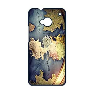 Custom Westeros Map Game of Thrones Unique HTC ONE M7 Hard Case Cover Personalized Phone Cases Covers