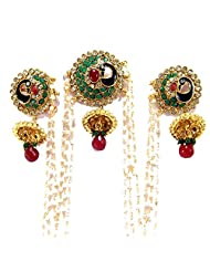 Aria Peacock Style Gold Plated Ruby Enamel Multicolour Bun Pin Earring Be53