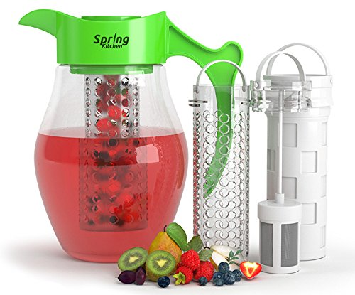 Spring Kitchen 3 in 1 Fruit & Tea Infusion Water Pitcher. Large 3 Quart (2.8 Liters). Best For Flavored Infused Fruit, Tea or Herbs Beverages. Includes 3 Inserts for Fruit, Tea & Ice. Lime Green (Pitcher Large compare prices)
