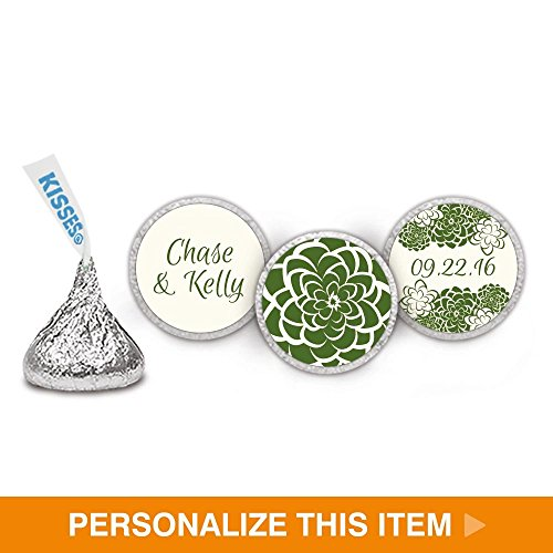 Succulents Wedding Stickers for Personalized KISSES Candy - Moss (108 Count)