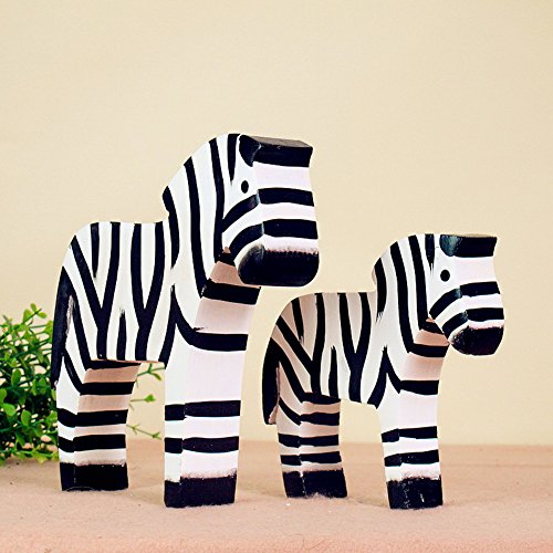 Classic Country Style of Nordic Logs Decoration Abenra Set of Two Log Zebra