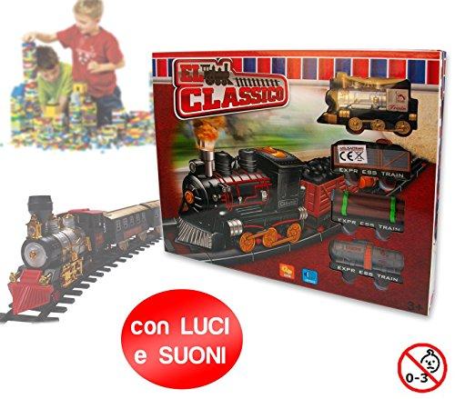 Playset circuito treno merci locomotiva classica con luci e suoni binari 4 vagoni e segnali 374723. MWS