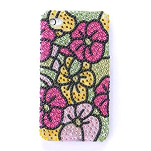 Luxmo Bling Luxurious Design Diamond Crystal Snap-on Case for Apple iPhone 4, iPhone4, Green Tropical Hawaiian Flowers