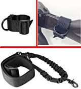 Ultimate Arms Gear Tactical Ambidextrous Slip On Stock Buttstock Black Single 1 Point Sling Mount Strap Loop Adapter Rifle Shotgun Attachment Nylon Webbing with D-Ring + Stealth Black 1 Single Point Bungee