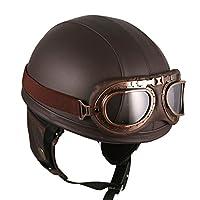 Motorcycle Vintage Style Goggles Retro Helmet Brown by HANMI