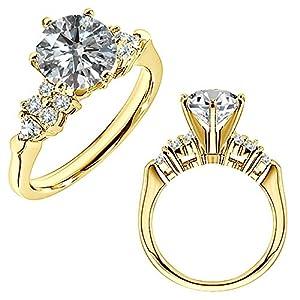 0.94 Carat G-H SI2-SI3 Diamond Engagement Wedding Anniversary Halo Bridal Ring 14K White And Yellow Gold