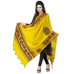Banjara WomenS Cotton Stoles & Dupattas Kutchi Mirrorwork (Kch08 _Lemon Yellow _Handicraft Dupatta_Free Size)