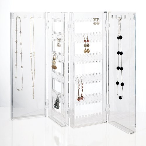 Foldable Acrylic Jewelry Screen - holds up to 120 pairs of earrings, with 8 necklace hooks