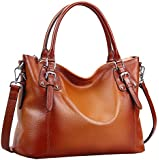 Heshe® Luxury New Fashion Lady Soft Cowhide Leather Vintage Shoulder Bag Handbag Tote Top-handle Purse Cross Body Big Capacity Casual Simple Style Fit 14 in Laptop