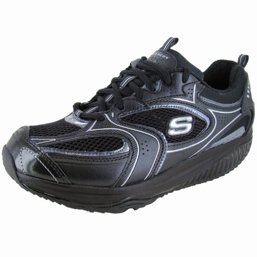 Skechers Women's Shape Ups XF - Accelerators Lace-Up Fashion Sneaker,Black Silver,9.5 M US