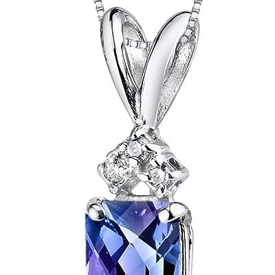 Revoni 14ct White Gold Emerald Cut Gemstone Diamond Pendant Necklace