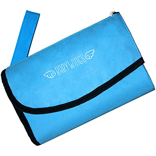 Changing Pad - Travel Changing Pad for Baby - Foldable Blue Portable Diaper Table Change Mat with Carrying Strap and Waterproof Pads Great for Changing Stations - 30 Day Money Back Guarantee & Bonus Ebook