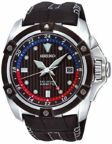 Seiko SUN013 Men's Stainless Steel Velatura GMT Black Dial Leather Strap