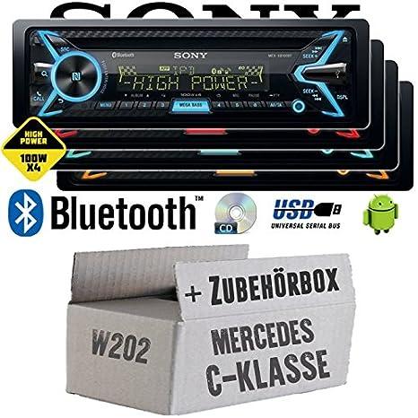 Mercedes C-Klasse W202 - Sony MEX-XB100BT - Bluetooth | CD | MP3 | USB | 4x100 Watt Autoradio - Einbauset