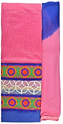 Hiya Women's Chanderi Long Unstitched Dress Material (Rose_3, Pink)
