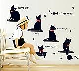 ufengke® Carino Gatti Neri Adesivi Murali, Camera da Letto Soggiorno Adesivi da Parete Removibili/Stickers Murali/Decorazione Murale