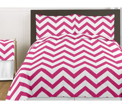 Hot Pink And White Chevron 3Pc Bed In A Bag Zig Zag King Bedding Set Collection front-230734