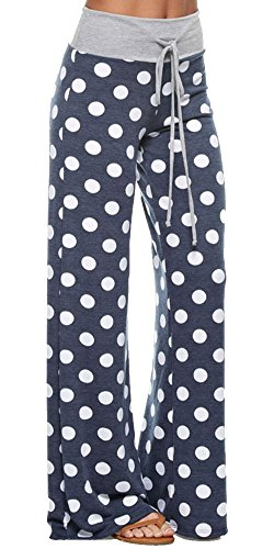 Inspire L' Amour Womens Casual Lounge Pants Polka Dot Navy Medium (Wide Leg Pajama Pants compare prices)
