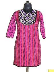 Rahasya Creations Women's Cotton Stitched Kurti (AP1__Pink_Large)