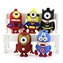 Classic Movie Character - Collection Minion Gangs in Super Hero Costume 8 GB Usb Flash Drive (Superman, Batman, Spiderman, Iron Man, Captain America) 1 Set - USB Flash Drive Cartoon Gift for Boyfriend