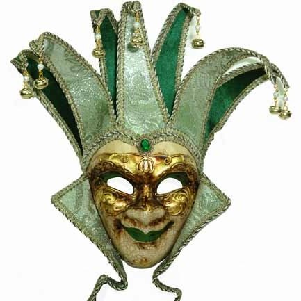 Blue Gold Venetian Jester Mask for Men Mardi Gras Bells Costume Accessory Velvet