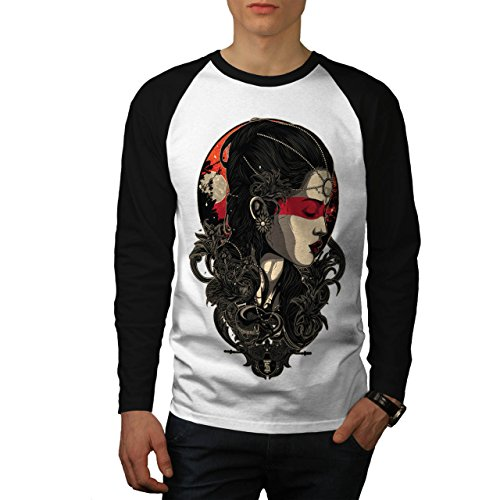 Snake Lady Vixen Cute Girl Men NEW White (Black Sleeves) M Baseball LS T-shirt | Wellcoda