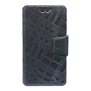 Jo Jo Cover Krish Series Leather Pouch Flip Case With Silicon Holder For Intex Cloud 3G Gem Dark Grey