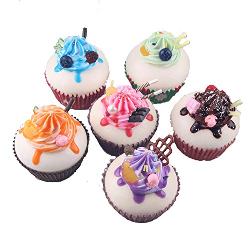 Dream Travel Pack of 6 Simulation Small Cream Cupcake Artificial Fake Cake Model Desert Food Kids Toy Home Kitchen Party Decoration Store Market Display Photography Props, Color Random (Display Fake Cupcakes compare prices)