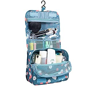 HaloVa Toiletry Bag Multifunction Cosmetic Bag Portable Makeup Pouch Waterproof Travel Hanging Organizer Bag for Women Girls, Blue Flowers (Color: A Blue Flowers)