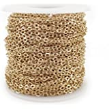 CleverDelights Rolo Chain Roll - 30 Feet - Champagne Gold Color - 3x4mm Link - Bulk Oval Chain Spool