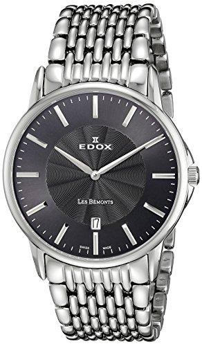 Hombre-reloj EDOX LES BEMONTS - Ultra SLIMM Swiss movement analógico de cuarzo de acero inoxidable 56001 3 M GIN