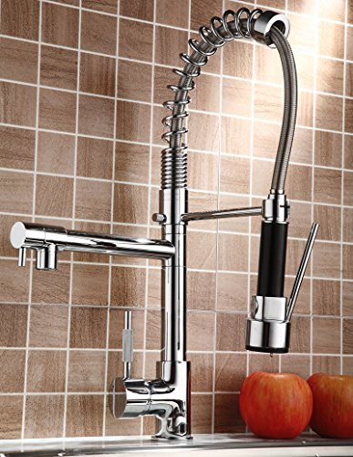 Rozinsanitary Pull Down Kitchen Sink Faucet Swivel Spout Mixer Chrome Finish