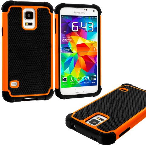 Mylife (Tm) Black And Orange - Free Flex Series (2 Layer Neo Hybrid) Slim Armor Case For The New Galaxy S5 (5G) Smartphone By Samsung (External Rubberized Hard Shell Flex Piece + Internal Soft Silicone Flexible Bumper Gel)
