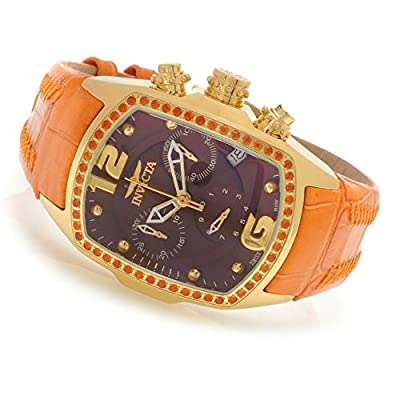 Invicta Women's Lupah Revolution Swiss Chrono Fire Opal Bezel Orange Leather Strap Watch 14829