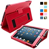 Snugg Apple iPad Mini & iPad Mini 2 Retina Leather Case in Red - Flip Stand Cover with Elastic Hand Strap, Stylus Loop and Premium Nubuck Fibre Interior - With Automatic Sleep & Wake