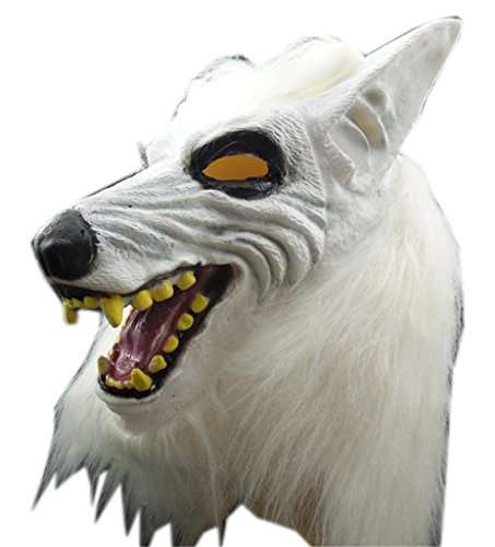 AnVei-Nao Men White Wolf Horror Full Headgear Latex Mask Costume Halloween Party