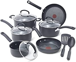 T-fal E918SC Ultimate Hard Anodized Nonstick Expert Interior Thermo-Spot Heat Indicator Cookware Set, 12-Piece, Gray