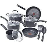 T-fal E918SC Ultimate Hard Anodized Durable Nonstick Expert Interior Thermo-Spot Heat Indicator Anti-Warp Base Dishwasher Safe PFOA Free Oven Safe Cookware Set, 12-Piece, Gray