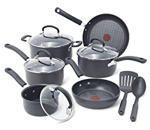 T-fal E918SA Ultimate Hard Anodized Durable Nonstick Expert Interior Thermo-Spot Heat Indicator Anti-Warp Base Dishwasher Safe PFOA Free Oven Safe Cookware Set, 12-Piece, Gray