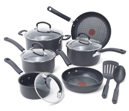 T-fal E765SC Ultimate Hard Anodized Scratch Resistant Titanium Nonstick Thermo-Spot Heat Indicator Anti-Warp Base Dishwasher Safe Oven Safe PFOA Free Cookware Set, 12-Piece, Gray (T Fal Cookware 10 Piece compare prices)