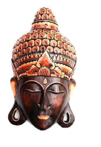 Buddha Mask Wooden Wall Hanging Decor Buddha Statue Meditation, LARGE 16