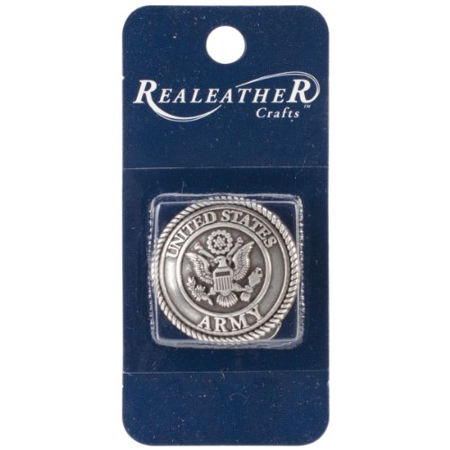 Realeather Crafts Concho Antique Silver US Army Embellishment, 1.25-Inch