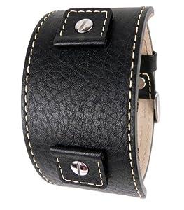 Eulit Correa de Reloj Rindscuero Band negro mit Wechselanstoß 18mm 20mm 22mm 27362210