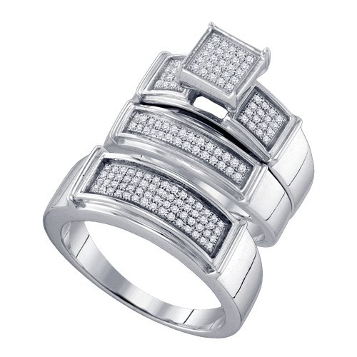 Sterling Silver 3/8 ct. Diamond Trio Engagement Set